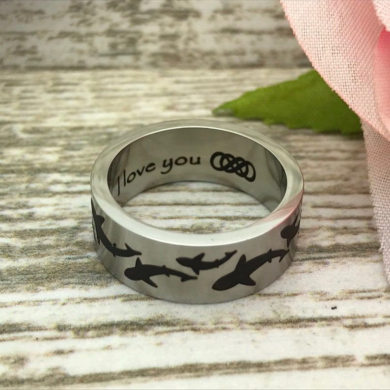 Personalized Wedding Ring gift for Him Name Ring Anniversary Rings Gift for Her 8mm Shark Ring Stainless Steel Ring with Shark Design