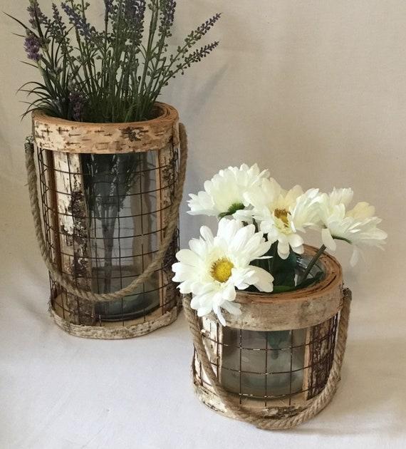 Rustic Vase Birch Vase Wood And Glass Vase Round Vase Etsy