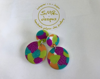 Glitter Camouflage Polymer Clay Disc Dangles - Minis