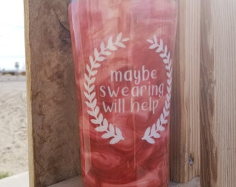 Maybe Swearing Will Help Stainless Steel Personalized Tumbler Hot Cold Drinks