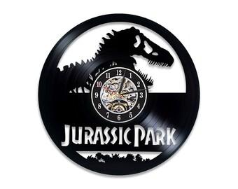 Jurassic Park Room Art Movie Vinyl Record Wall Clock Gift Idea For Kids World Boy Modern
