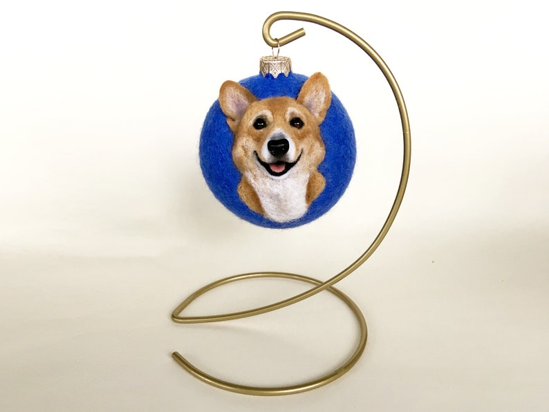 Custom felt ornament Pembroke Welsh Corgi Cardigan from photo Pet owners gift Memorial wool dog portrait