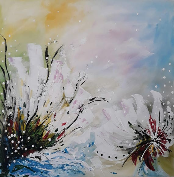 Abstract Painting Canvas Painting Abstract Flowers Canvas Wall Art Flowers Brighten My Day Acrylic Painting Landscape Sunny Day Gifts