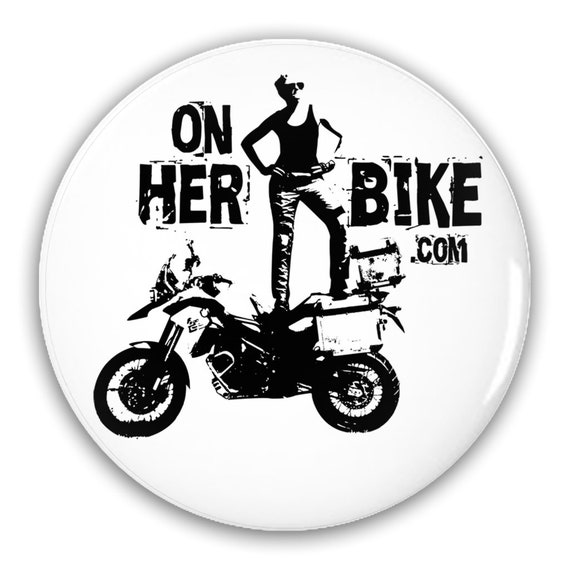 On Her Bike Pin-Back Button
