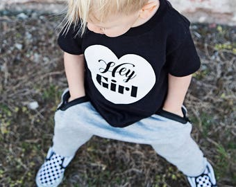 Hey Girl T-Shirt | Toddler boys shirt | boys tshirt | fun toddler shirt | black and white heart shirt