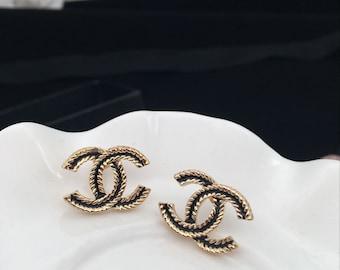 silver gold golden tone CC earrings black