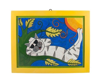 Painting 41 x 32.5 cm with cat and yellow frame-cats Style