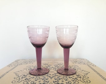 267ad3101127 Set of two vintage purple amethyst wine glasses swirl design fancy boho  wedding decor birthday gift for her unique wine goblets wedding wine