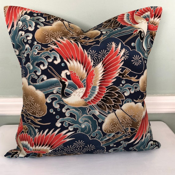 Throw Pillow With Japanese Cranes by Etsy