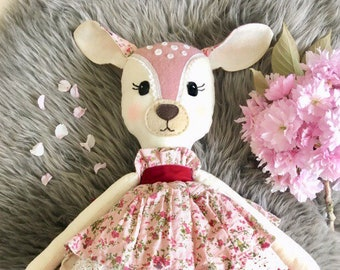 Reduced price... Was 75.00 now 60.00, limited time only Handmade Heirloom pink deer doll,  cloth doll, art doll, one of a kind, Ooak