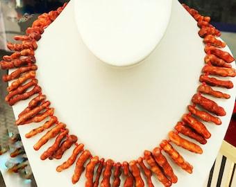 Vtg Rare Natural Coral Branch Necklace