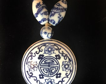 Vtg Chinese Blue/White Hand Painted Porcelain Necklace