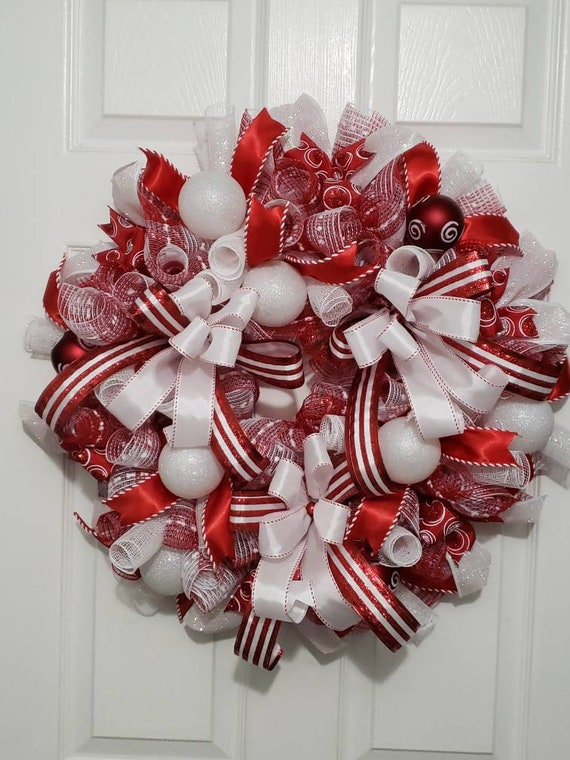 red white christmas wreath for front door christmas wreath etsy red white christmas wreath for front door christmas wreath christmas ornament wreath red holiday wreath