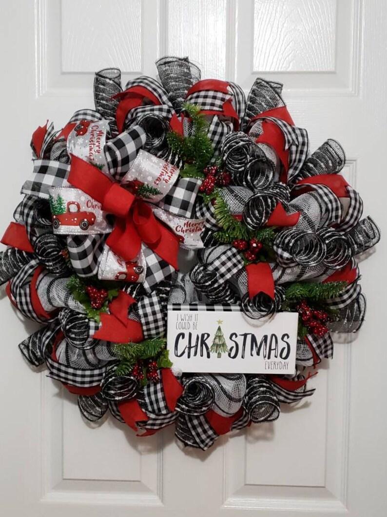 Farmhouse Christmas Wreath Rustic Christmas Wreath Black And Etsy