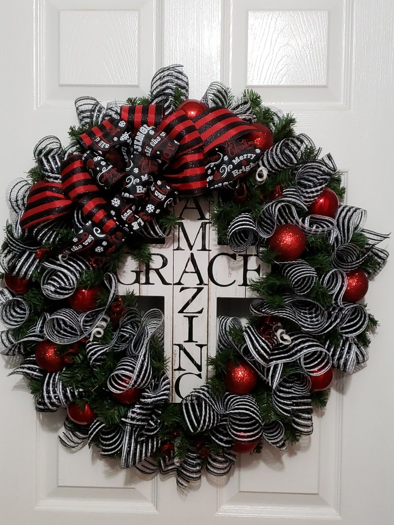 d2bc28f245b14 Black White Christmas Wreath Holiday Front Door Decor Red