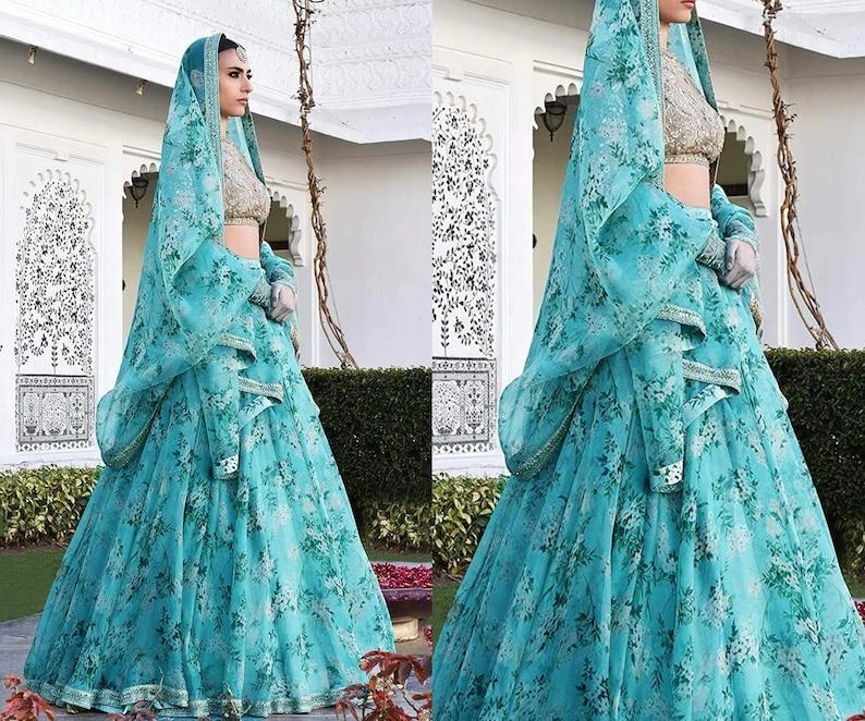 Sky Blue Floral Print Embroidered Designer Sabyasachi Lehenga Choli for Women Girls Indian Pakistani South Asian Bridal Wedding Skirt Outfit