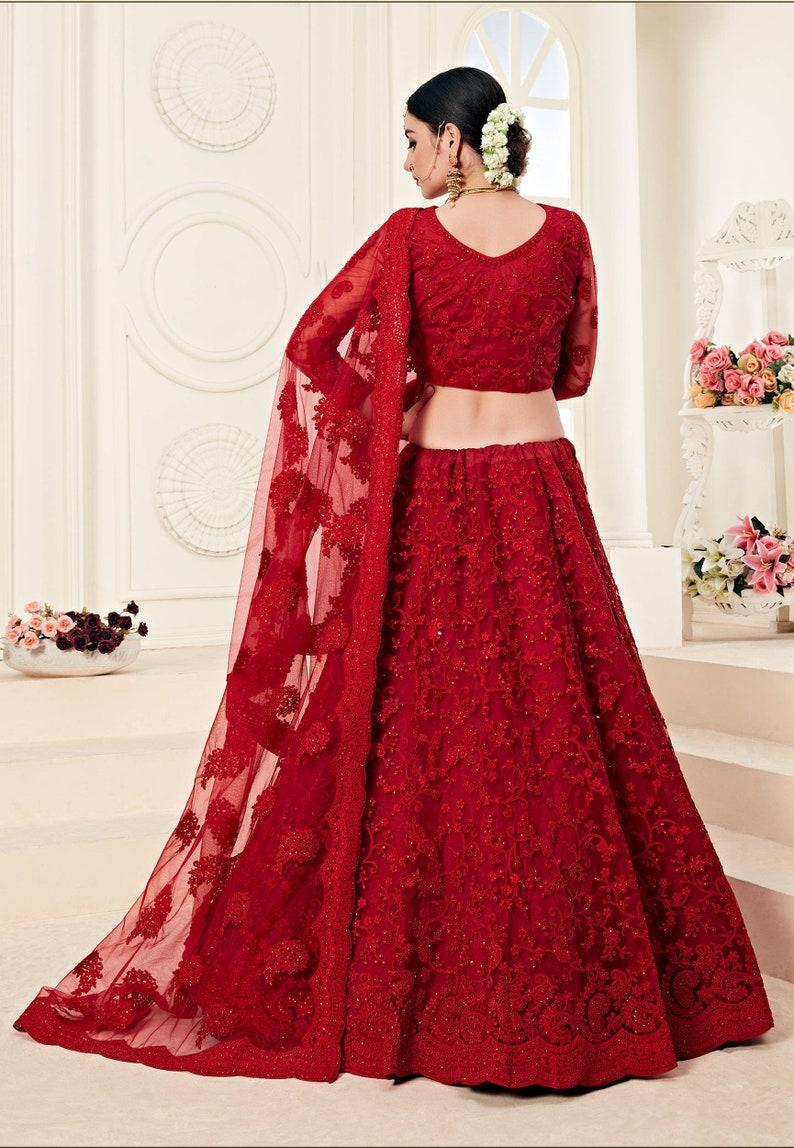 Red Embroidered Designer Net Lehenga Choli Dupatta for Women /& Girlish Indian Pakistani Bridesmaid South Asian Bridal Wedding Dresses Skirt
