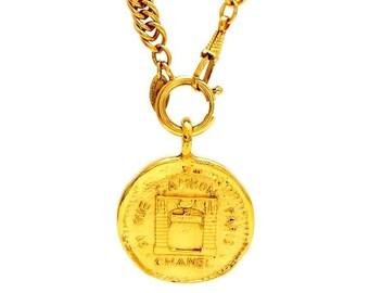 Vintage Chanel necklace rue cambon paris medallion #ne611
