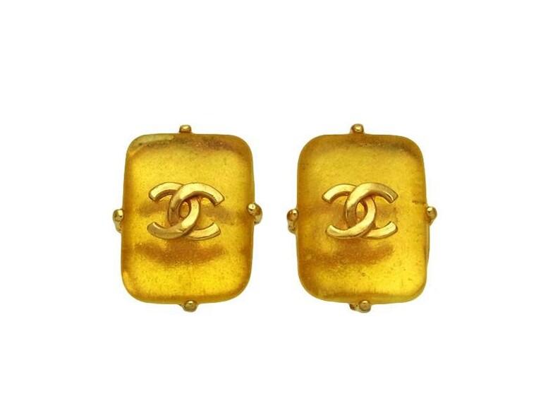 cd30551a49d6 Vintage Chanel earrings CC logo yellow gold stone ea1793 | Etsy