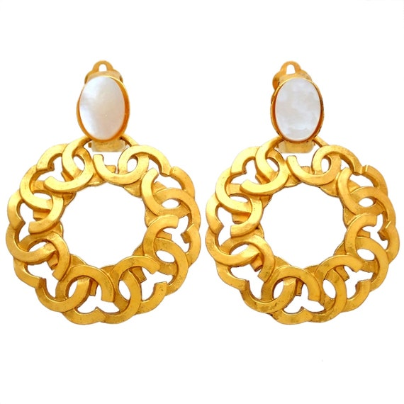 Authentic Vintage Chanel earrings white stone CC l