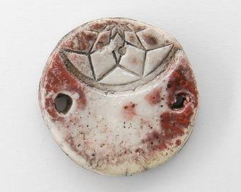 Connector, pendant, Raku ceramic, round, red, white, 1 X