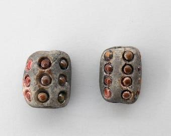Bead, ceramic, raku, rustic, red, 2 x