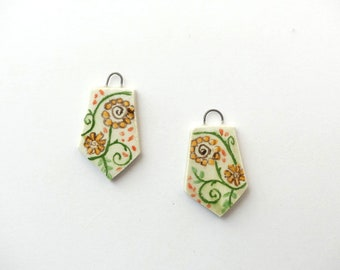 Ceramic bead, charms earrings, glazed porcelain, flower patterns, jewelry supplies, hand painted