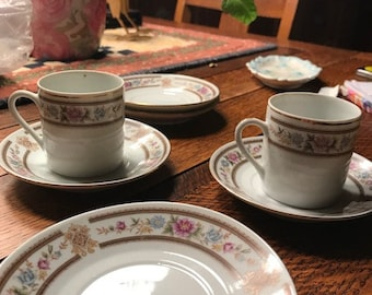 Vintage China (made in China) Espresso size cups  and Saucers - 2 cups, 4 saucers.