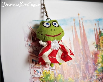 Small textile frog bag accessory Handmade keyholder Textile doll