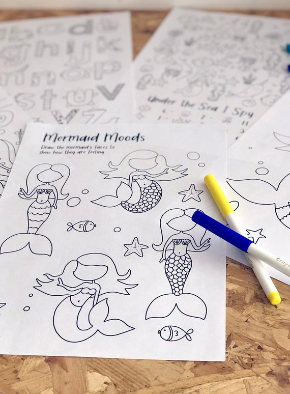 Under The Sea, Mermaid, Narwhal Activity Sheets,  Downloadable Digital Activity bundle