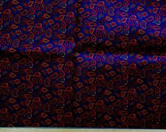 Dark Blue with Small Dark Burgundy Paisley - VIP -  1/2 Yard  B-1/2-21