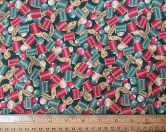 Teal and Mauve Sewing Spools - Fabric Traditions -  2 Yards  B-1-31