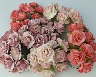 60 Mixed Pink Mulberry Paper Rose Flower handmade size 2-2.5 cm. Wedding Card Craft Scrapbook Rose Scrapbook Craft Wedding