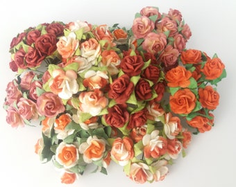 100 Mixed Orange & Red tone Mulberry Paper Rose Flower handmade size 1 cm. Wedding Card Craft Scrapbook Rose Scrapbook Craft Wedding
