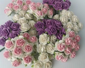 100 White Pink White Purple Mulberry Paper Rose Flower handmade size 1.5 cm Wedding Card Craft Scrapbook Rose Scrapbook Wedding