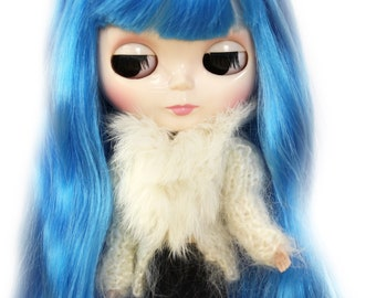 Rabbit Fur Cardigan for Blythe Doll, Handmade in Wales, Knit Winter Cream Cable Wood Button Unique Collectors Gift Barbie Sindy Fashion Doll