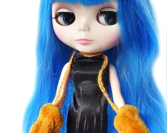 Mink Fur Mittens for Blythe Fashion Doll, Handmade in Wales, Wool Natural Winter Orange Unique Collectors Gift Barbie Sindy Fashion Doll