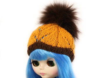 Fox Fur Pom Pom Hat for Blythe Doll, Handmade in Wales, Orange Brown Cable Lace Knit Cute Unique Collectors Gift Barbie Sindy Fashion Doll