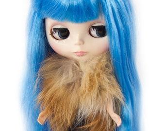 Fox Fur Bolero for Blythe Doll, Handmade in Wales, Red Shawl Scarf Coat Jacket Winter Unique Collectors Gift Barbie Sindy Fashion Doll