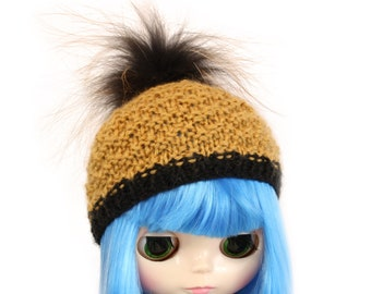 Fox Fur Pom Pom Hat for Blythe Doll, Handmade in Wales, Cream Brown Moss Knit Cute Unique Collectors Gift Barbie Sindy Fashion Doll