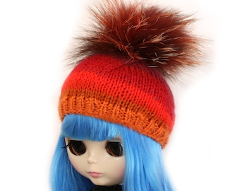 Fox Fur Pom Pom Hat for Blythe Doll, Handmade in Wales, Red Orange Cream Stripe Ombre Knit Unique Collectors Gift Barbie Sindy Fashion Doll