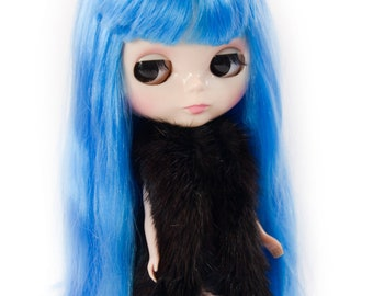Mink Fur Gilet for Blythe Doll, Handmade in Wales, Recycled Black Bolero Natural Winter Unique Collectors Gift Barbie Sindy Fashion Doll