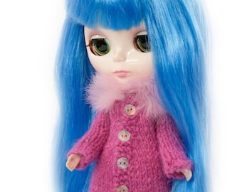 Rabbit Fur Cardigan for Blythe Doll, Handmade in Wales, Knit Winter Pink Cable Shell Button Unique Collectors Gift Barbie Sindy Fashion Doll
