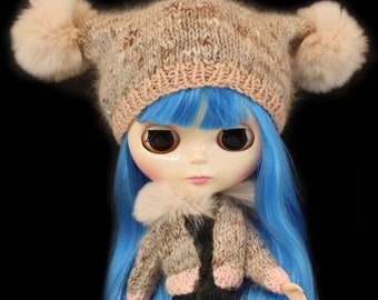 Rabbit Fur Cardigan & Pom Pom Hat for Blythe Doll, Handmade in Wales, Knit Winter Pink Grey Unique Collectors Gift Barbie Sindy Fashion Doll