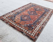 Kazak Carpet, Şirvan Rug, Tribal Rug, Large Kazak Carpet, Traditional Rug, Different Handmade Anatolian Rug 11.9 x 7.6 feet