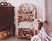 Wicker shelf Scandinavian style desk, Montesori, HANDMADE