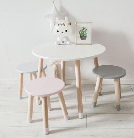 Round Table For Children Scandinavian Style Desk Montesori Etsy