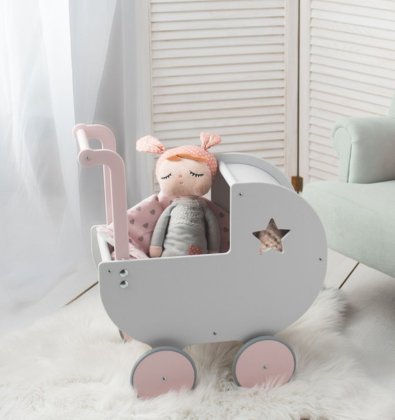 Personalised Wooden Pram Charm//Mobile Push-Chair Buggy Stroller ~Baby Girls