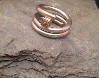 Spiral Silver ring 935er with Citrine