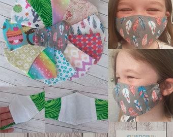 FACE MASKS KIDS Reusable and Washable // Double Layer with filter pocket. 100% Cotton // Quick Ship // Free U.K Delivery